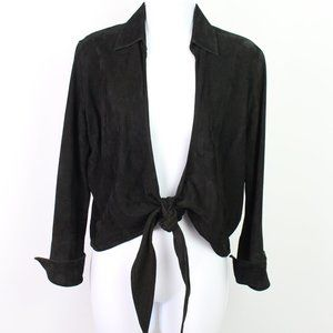 Cache black suede long sleeve top front tie